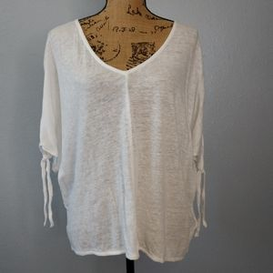 H&M White Linen Sheer Oversized Relax Top Tie
